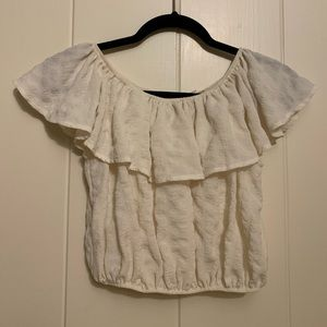 Cream ruffle tube top